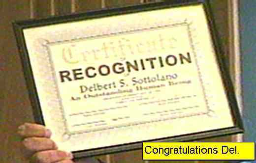 Certificate of Recognition for Delbert